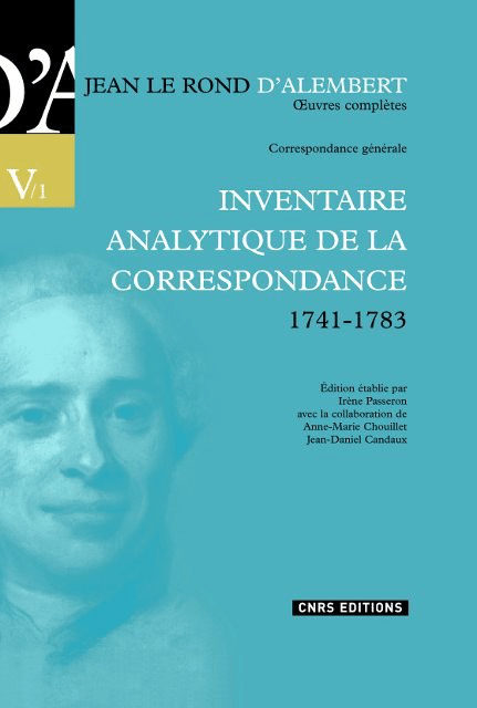 D'Alembert, Inventaire analytique de la correspondance