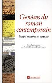 Genèses du roman contemporain