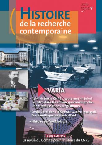 Histoire de la recherche contemporaine - tome 5 n°1