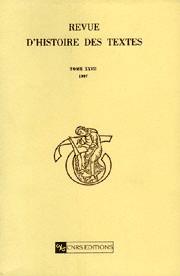 Revue d'histoire des textes T27 - 1997