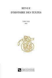 Revue d'histoire des textes T31 - 2001