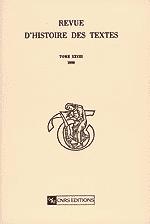 Revue d'histoire des textes Tome 28