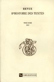 Revue d'histoire des textes Tome 32