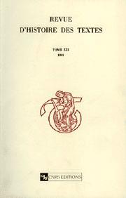 Revue d'histoires des textes - T21 - 1991